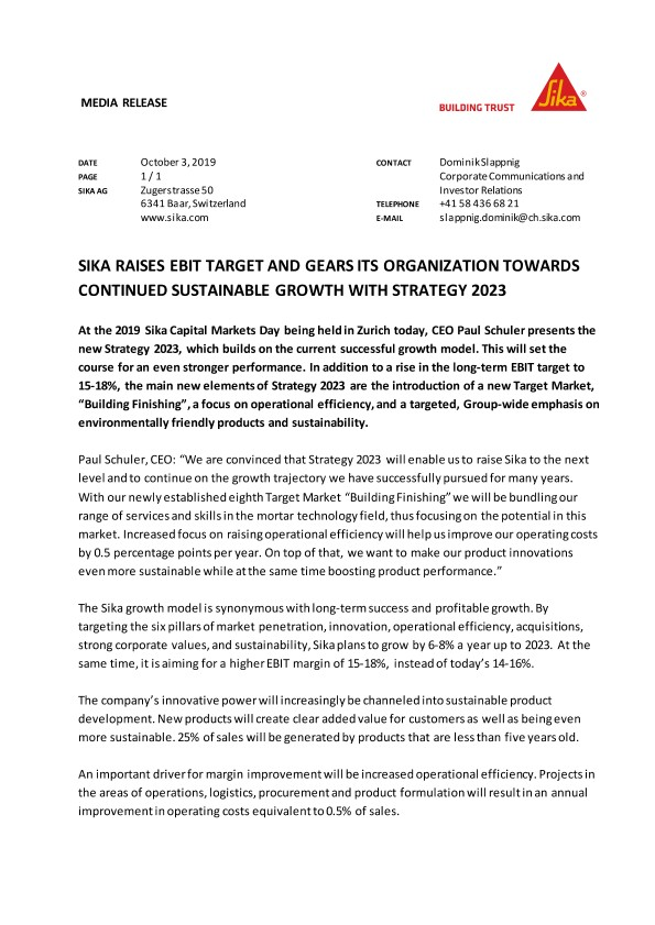 Sika Raises EBIT Target and Gears its Organization Towards Continued Sustainable Growth with Strategy 2023