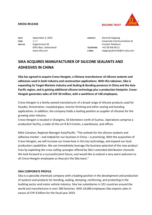 Sika Acquires Manufacturer of Silicone Sealants and Adhesives in China - September 2019